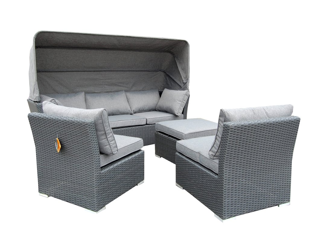 strandkorb lounge palma cabrio sofa alu geflecht 5tlg grau ebay. Black Bedroom Furniture Sets. Home Design Ideas