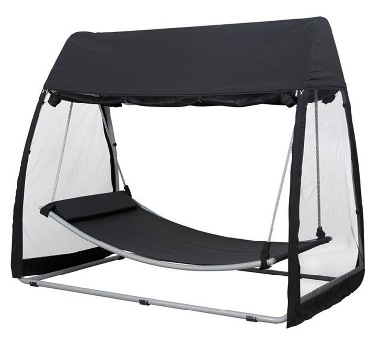 garten h ngematte mit gestell moskitonetz sonnendach. Black Bedroom Furniture Sets. Home Design Ideas