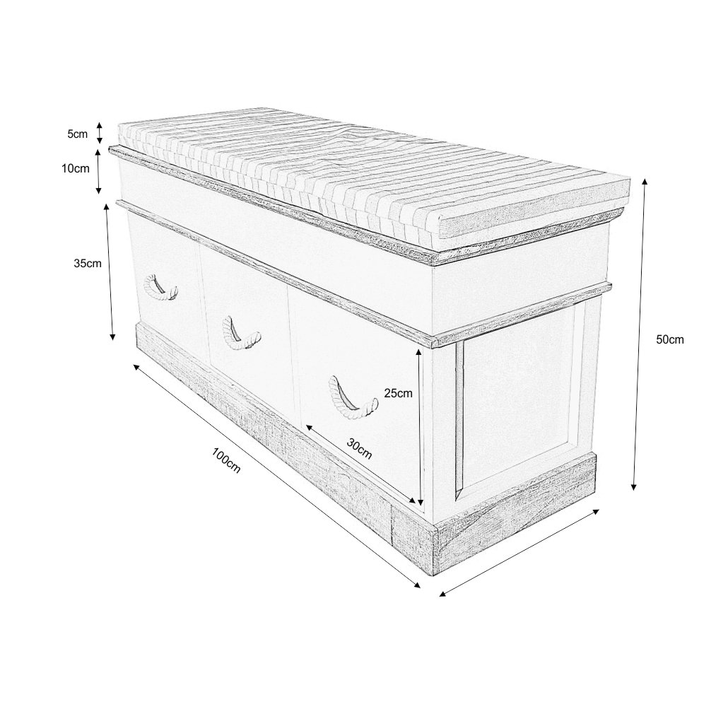 Shabby chic schuhbank sitzbank sideboard 3 f cher 103 x 33 for Sideboard 50 cm